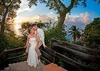 Newlywed Couple on Steps Overlooking Anse Chastanet Beach